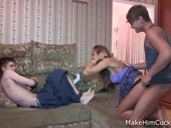 Russian cuckold with long-haired dolly bird on the couch