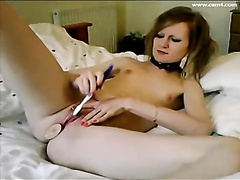 Teen punk chick is having fun with sex toys