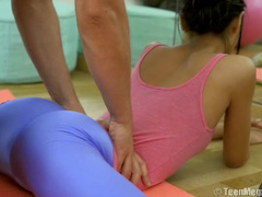 Fitness trainer got excited and fucked the student