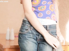 Smooth and fresh teen is excitingly stripping off