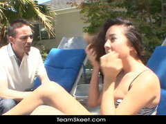 Sedused on tanning couch for wild fuck