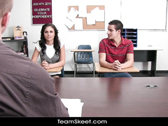 Teacher is making teen classmate to fuck