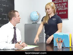 Naughty blonde fucks with freaky teacher