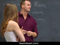 Freaky teacher seduced young chick for fuck