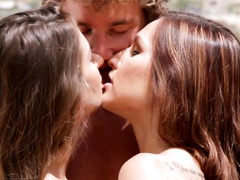 Brunette beauties are seducing strong fucker dude