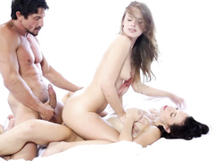 Huge dicked dude is pounding two awesome bisexual chicks
