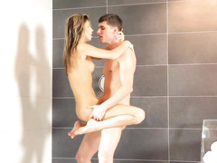 Wonderful brunette pleasures hot fuck in shower