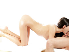 Dude hotly excites young brunette with smooth massage