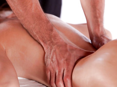 Redhead sweetie gets hotly excited from relaxing massage