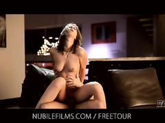 Exciting hot brunette chick is hotly fucking in sexy underwear