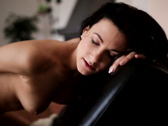 Precious brunette chick with smooth body shape is pleasantly masturbating