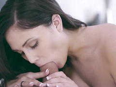Impressive brunette with steaming hot body is pleasuring hardcore fuck