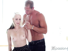 Tiny boobed blonde gets undressed by strong boyfriend and deepthroats his dick
