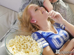 Horny blonde babe Hollie Mack seduces bald fucker J-mac and gets licked hot