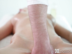 Skinny brunette Connie Carter got hot at massage and fucked hard the masseur