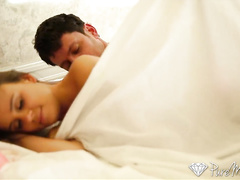 Beauty brunette Alexis Adams sneaked in bed to sleeping Johnny Castle and got fucked