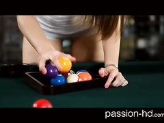 Beauty brunette chick prefers to fucking then playing pool